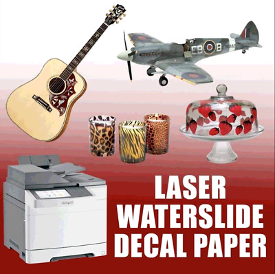 "Waterslide Decal Paper White For Laser Printer  8.5"" x 11"" 10 sheets"