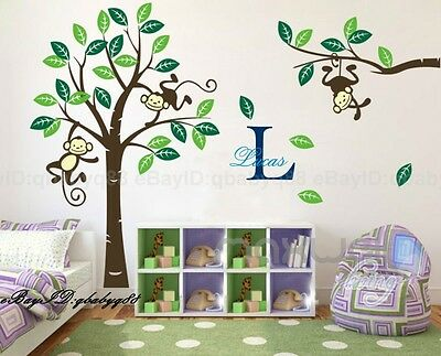 Cheeky Monkey on Large Tree Vinyl Wall Decals Art Stickers Kids Nursery Decor