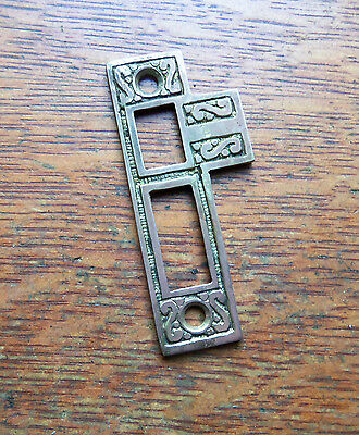 New Fancy Antiqued Cast Brass Door Jamb Strike Plate