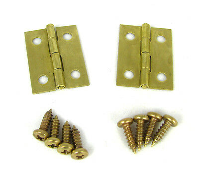 2pc. Small Square Brass Hinges w/ Screws - Great for Boxes and Crafts!