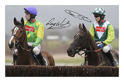 Kauto Star and Denman Signed Autograph Photo Print A4 Horse Racing Ruby Walsh