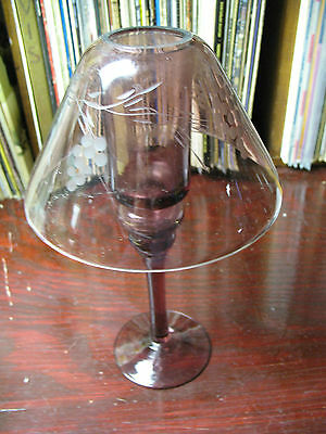AMETHYST  PURPLE   CANDLE  HOLDER  w/ CUT /ETCHED  GLASS  SHADE  10''  TALL