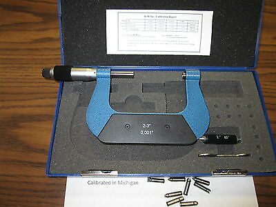 "2-3"" SCREW THREAD MICROMETER SET w. 4 pair anvils--NEW"