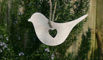 Vintage Chic Wooden Bird Dove Hanging Shabby Decoration Heart Wedding Favour