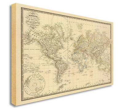 World Map | Map Of World Antique Vintage Style Canvas Picture Large+ Any Size E