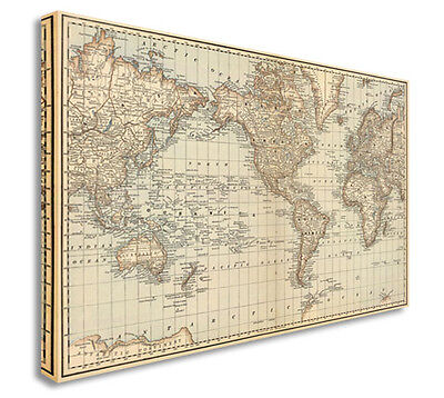 World Map | Map Of World Antique Vintage Style Canvas Picture Large+ Any Size F
