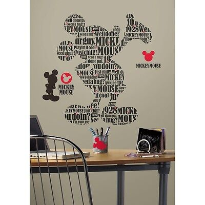 MICKEY MOUSE Giant TYPOGRAPHIC Wall Decals Bedroom Stickers Room Decor PHRASES