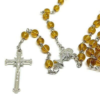 Rosary  Glass prayer beads rosary  - CATHOLIC Rosary Crucifix Necklace in purple