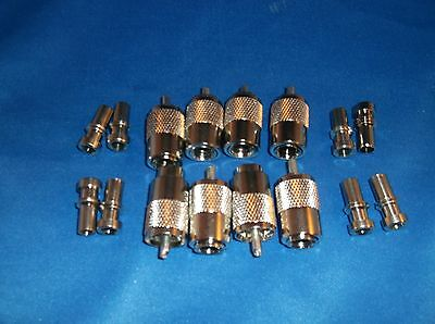 6 GENUINE AMPHENOL PL-259 COAX CONNECTORS WITH UG-175 RG-58 REDUCERS NEW