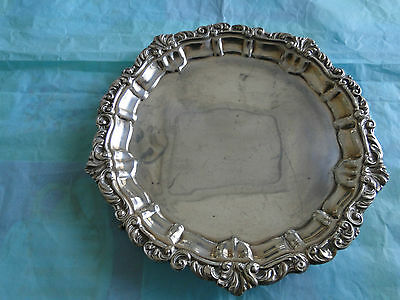 Antique English Round  Salver-Cast Border Sterling Silver Made In London 1896