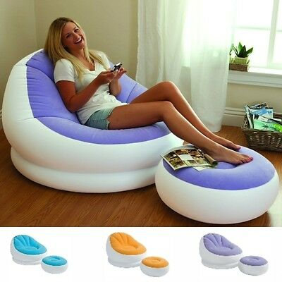 Inflatable Sofa Chair Adult Bean Bag Soft Light Beanless Intex Camping Seat New
