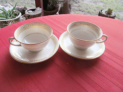 Lamberton China Josephine 2 Footed Cups &  2 Saucers  Ivory Gold Laurel Usa
