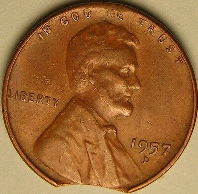 1957 D  Lincoln Wheat Penny,  Cent,  (Clipped Planchet)  Mint Error Coin, Ae 292