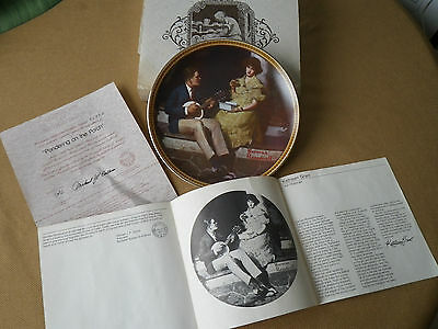 KNOWLES COLLECTORS PLATE NORMAN ROCKWELL PONDERING ON THE PORCH  *SEE PIC'S*