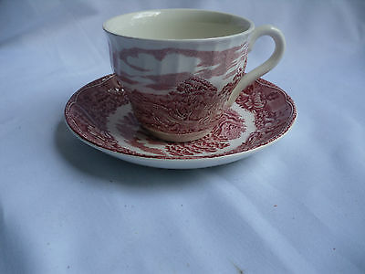 "Staffordshire Transferware Barratts Old Castle ""R. Kirkham"" Cup And Saucer"
