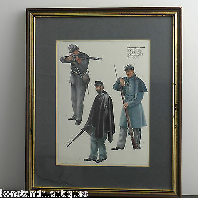 1861 Americas / USA solders print framed Infantryman Wisconsin and Indiana
