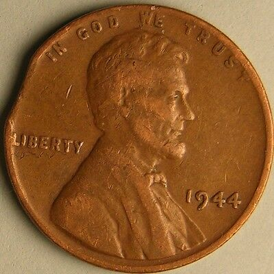 1944 P Lincoln Wheat Penny, Cent, (Clipped Planchet) Mint Error Coin Ae 434