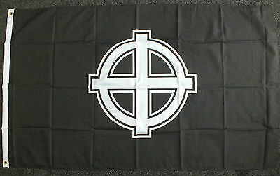 Celtic Cross Flag White/Black Nationalist Nationalism Irish Scottish Welsh bnip