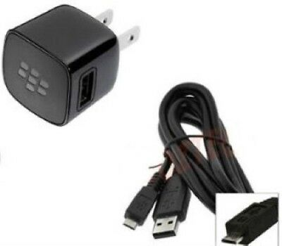 New Original OEM Blackberry Home Wall AC Charger Adapter w/ Micro USB Data Cable