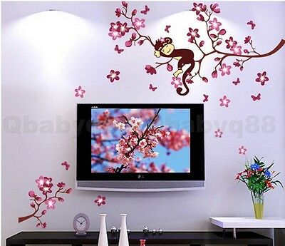 Cute Monkey Cherry Blossom Tree Wall decals Removable sticker kids nursery decor
