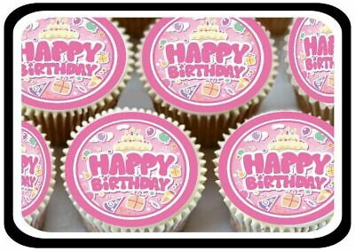 30 - Fun Pink Happy Birthday Edible Cupcake Toppers Thick Rice Paper 1300
