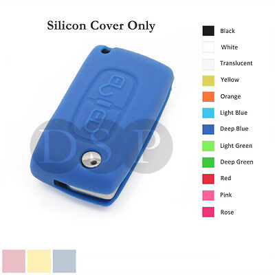 Silicone Cover fit for Peugeot 307 407 207 107 Remote Key Case Fob 2 BTN 12C DB