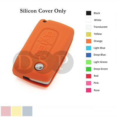 Silicone Cover fit for Peugeot 307 407 207 107 Remote Key Case Fob 2 BTN 12C OR