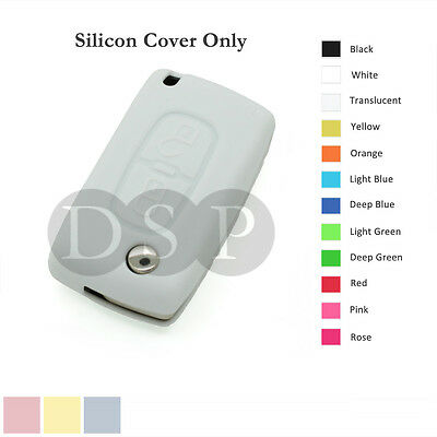 Silicone Cover fit for Peugeot 307 407 207 107 Remote Key Case Fob 2 BTN 12C WT