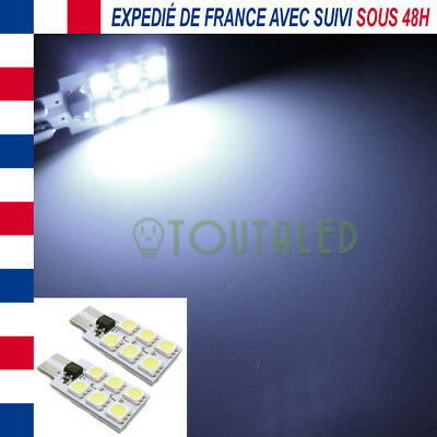 2X Ampoule Lampe 12V T10 W5W Plate 6 Led 5050 Blanc Froid Plafonnier Tuning