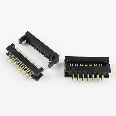 10Pcs 2.54mm 2x7 Pin 14 Pin Male Header IDC Ribbon Cable Transition Connector