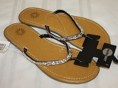 Womens Ladies NWT Inside Out Silver Bead Flip Flops Sandals Size 8M