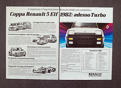 G124-Advertising Pubblicità - 1982 - RENAULT 5 ALPINE TURBO COPPA ELF 1982
