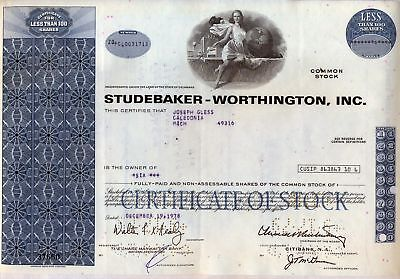 Studebaker-Worthington Stock Certificate Blue Car Auto