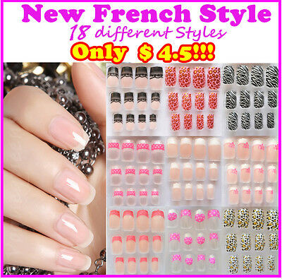 New Frech Style Acrylic Fake Nail Set / False Nail Tips with Glue