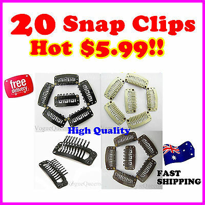 Brand New 20 Snap Clips For Hair Extension/Weft 32Mm