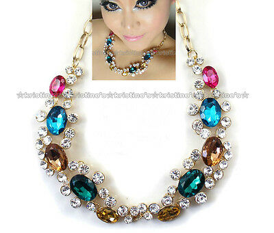 Beautiful Big Colorful Rhinestone Collar Necklace High Quality Free Shipping