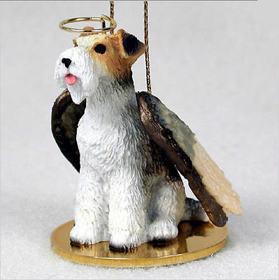 Fox Terrier Dog Figurine Ornament Angel Statue Hand Painted Wire Hair