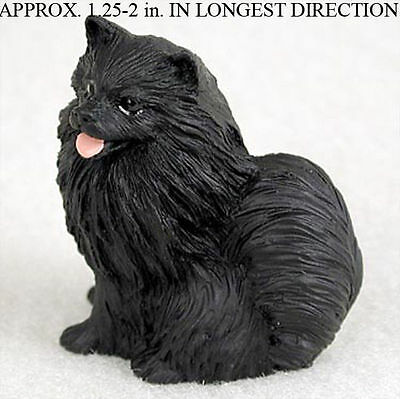 Pomeranian Mini Resin Hand Painted Dog Figurine Statue Black