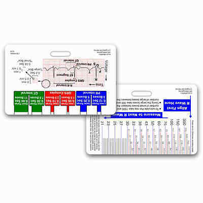 EKG Ruler Horizontal Badge ID Card Reference Pocket Guide RN Nurse Paramedic ECG