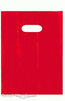 "1000 Red Low Density Plastic Shopping Merchandise Bags Die Cut Handles 9"" x 12"""