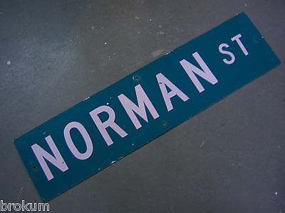 "Vintage ORIGINAL NORMAN ST STREET SIGN WHITE ON GREEN BACKGROUND 36"" X 9"""