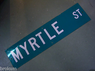 "Vintage ORIGINAL MYRTLE ST STREET SIGN WHITE ON GREEN BACKGROUND 36"" X 9"""