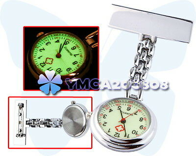 New Stainless Steel Nurse Doctor Brooch Pocket Fob Pendant Quartz Watch ym58