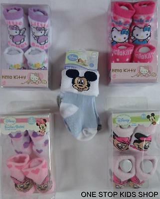 MINNIE MOUSE Baby Infant 0 3 6 9 12 18 24 Mo SOCKS Booties HELLO KITTY Mickey