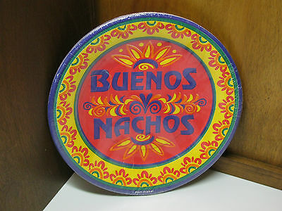 """Pam Marker BUENOS NACHOS 10-7"""" Mexican PARTY Dessert Paper PLATES Made in USA"""
