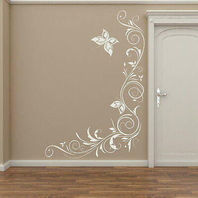 Corner Floral Wall Transfer /Removable Vinyl Decor / Flower Wall Sticker x26