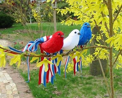 Bethany Lowe Pretty Ribbon Birds 4th July Patriotic Ornaments S/3 Red White Blue