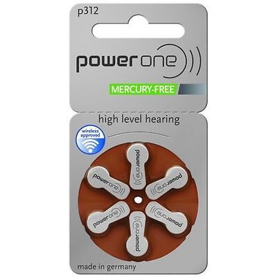 Power One Mercury Free Hearing Aid Batteries Size 312 x 60