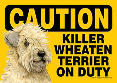 Killer Soft Coated Wheaton On Duty Dog Sign Magnet Hook & Loop Fastener 5x7