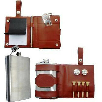 GOLF LEGEND WHISKY HIP FLASK LEATHER CASE Mens Accessory Tools Gift New RRP £35
